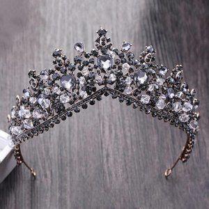 Black Silver gray Crystal Rhinestone Bronze Tiara
